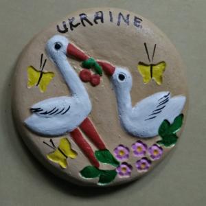 "2"" Ukrainian Geese Fridge Ceramic Magnet"