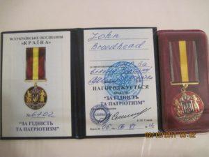Medal to John Broadhead